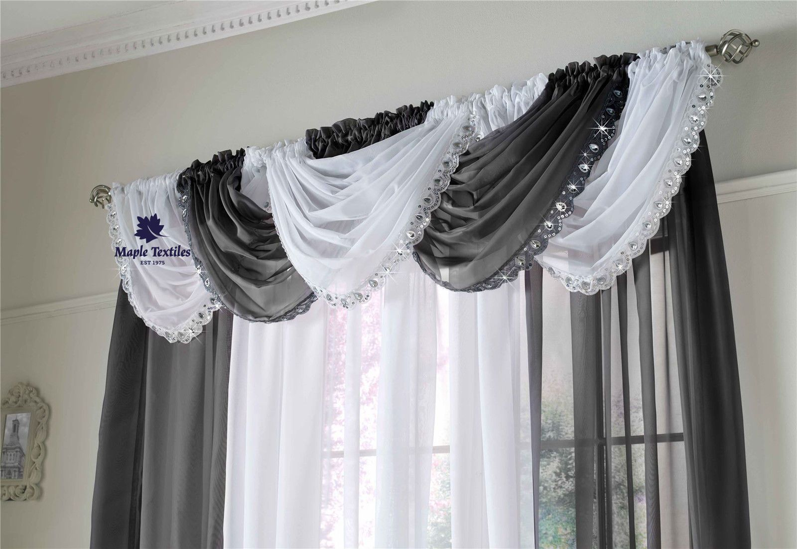 CRYSTAL SEQUIN SPARKLES JEWELLED GLITZY TRIM VOILE CURTAIN SWAG ... for Grey And White Voile Curtains  56mzq