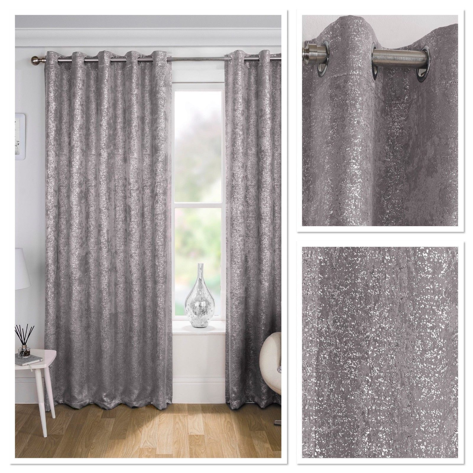 Pairs Of Glitter Silver Speckles Pale Grey Eyelet Block